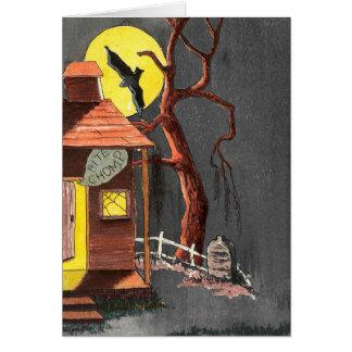 ハロウィンのこうもりの墓碑のお化け屋敷カード カード