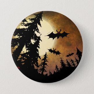 ハロウィンのこうもり、満月の気味悪い森林 7.6CM 丸型バッジ