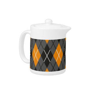 ハロウィンのアーガイル柄のなオレンジおよび灰色パターン