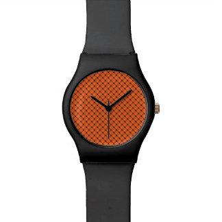 ハロウィンのオレンジおよび黒いパターン 腕時計