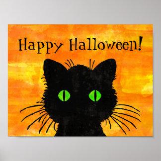 ハロウィンのオレンジのピーカーブ式黒猫 ポスター