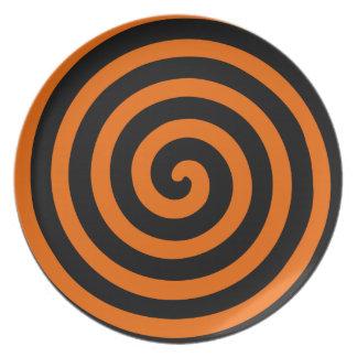 ハロウィンのオレンジ及び黒いHypnoプレート 皿