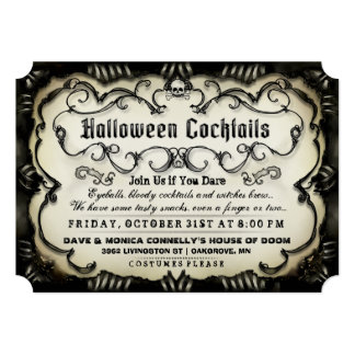 ハロウィンのカクテルのタンのゴシック様式黒及び招待 カード