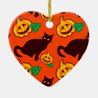 ハロウィンのカボチャおよび黒猫 セラミックオーナメント