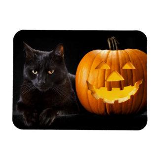 ハロウィンのカボチャおよび黒猫 マグネット