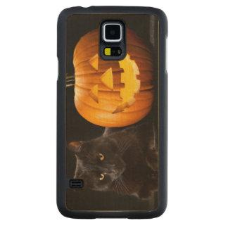 ハロウィンのカボチャおよび黒猫 CarvedメープルGalaxy S5スリムケース