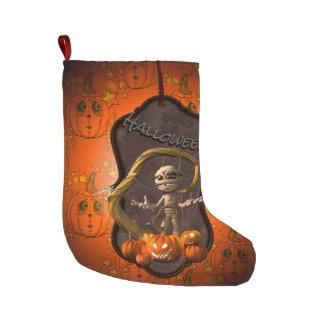 ハロウィンのカボチャを持つおもしろいなミイラ ラージクリスマスストッキング