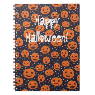 ハロウィンのカボチャパターンハロウィーンのカボチャのちょうちんのフェスティバル ノートブック