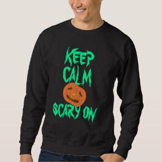 ハロウィンのカボチャ平静を及びワイシャツの恐い保ちます スウェットシャツ