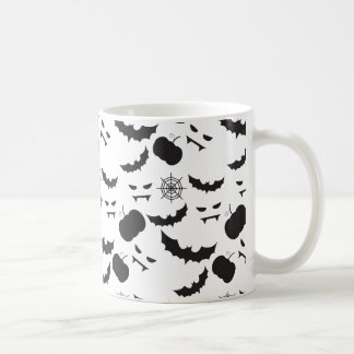 ハロウィンのカボチャ、こうもり、spiderwebパターン コーヒーマグカップ