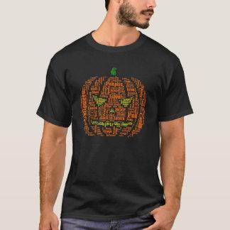ハロウィンのカボチャWordleのTシャツのデザイン Tシャツ
