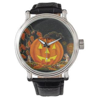 ハロウィンのジャックOランタン、シマリス、秋、葉 腕時計