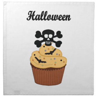 ハロウィンのスカルおよびカップケーキのこうもり ナプキンクロス