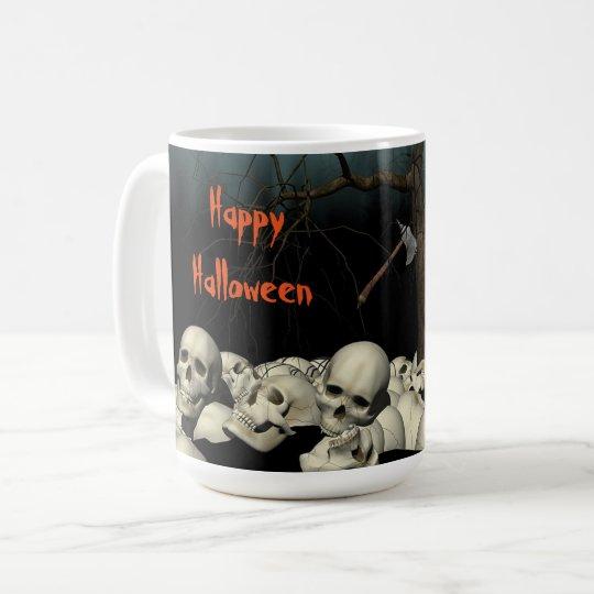 ハロウィンのスカルおよび引用文 コーヒーマグカップ