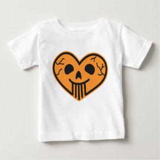 ハロウィンのスカルのハートの乳児のTシャツ ベビーTシャツ
