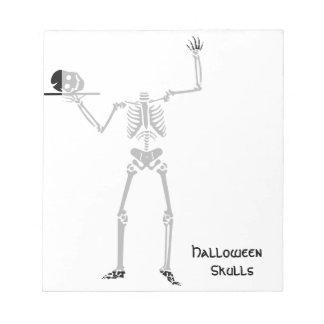 ハロウィンのスカルの骨の骨組 ノートパッド