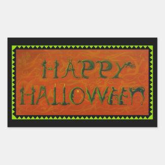 ハロウィンのステッカー、魔法使い、黒、猫、幽霊 長方形シール