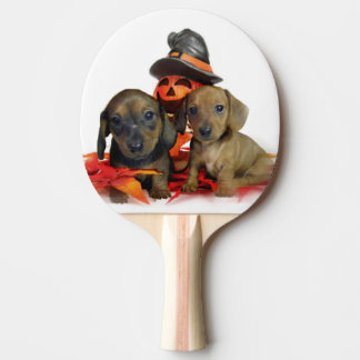 ハロウィンのダックスフントの子犬 卓球ラケット