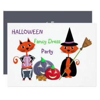 ハロウィンのデザインの凝った服の編集可能かわいいおもしろいのパーティー カード