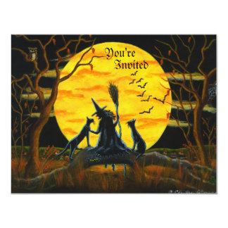 ハロウィンのパーティー、招待、魔法使い、黒、猫 カード