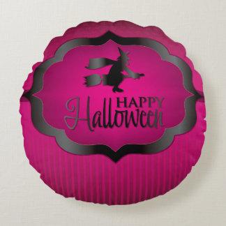 ハロウィンのピンクの魔法使い ラウンドクッション