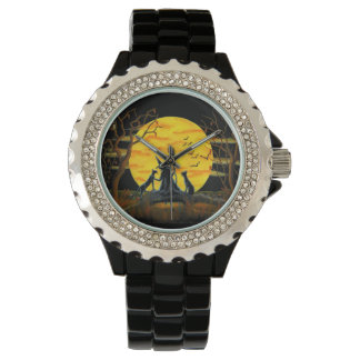 ハロウィンのファッション、腕時計、魔法使い、黒、猫、こうもり 腕時計