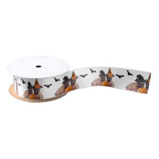 ハロウィンのフレンチ・ブルドッグ犬のサテンリボン サテンリボン