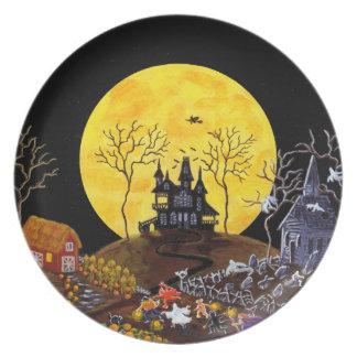 ハロウィンのプレート、家幽霊のよく出るな、幽霊魔法使い プレート