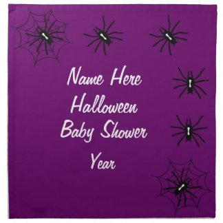 ハロウィンのベビーシャワーのくものナプキン-紫色 ナプキンクロス