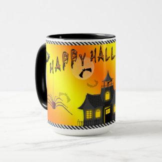 ハロウィンのマグ-こうもり、お化け屋敷 マグカップ