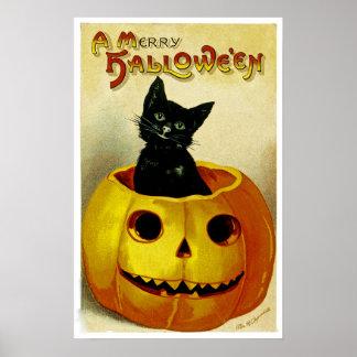 ハロウィンのメリーな子ネコ ポスター