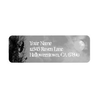 ハロウィンのワタリガラスの空のカスタムの差出人住所ラベル ラベル