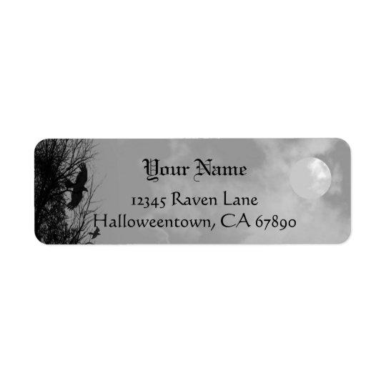 ハロウィンのワタリガラスの空の習慣の差出人住所ラベル 返信用宛名ラベル