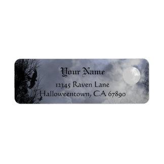 ハロウィンのワタリガラスの青空の習慣の宛名ラベル ラベル