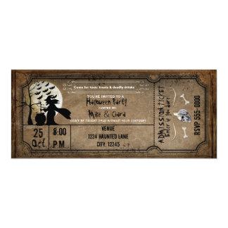 ハロウィンのヴィンテージの魔法使いの気味悪いチケットの招待状 カード