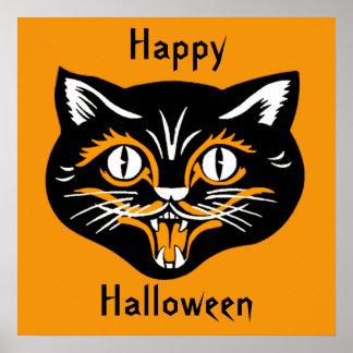 ハロウィンのヴィンテージ猫の顔ポスター ポスター