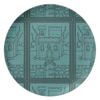 ハロウィンの仮面舞踏会の城のLineartのデザイン プレート