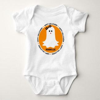 ハロウィンの名前入りなガーリーな幽霊 ベビーボディスーツ