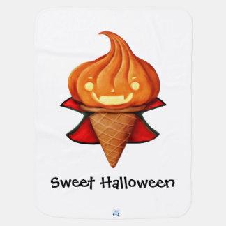 ハロウィンの吸血鬼のカボチャアイスクリーム ベビー ブランケット