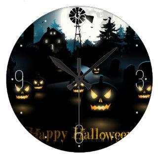 ハロウィンの墓地の景色のカボチャ月のこうもり ラージ壁時計