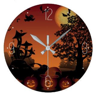 ハロウィンの墓地場面カボチャこうもりの月 ラージ壁時計