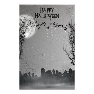 ハロウィンの墓地場面シルエット 便箋
