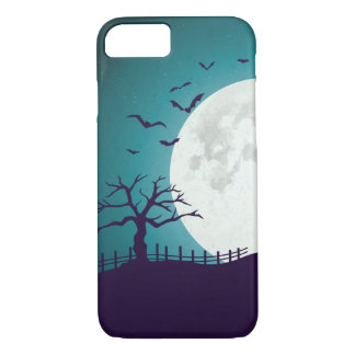 ハロウィンの墓地、死んだ木、月、カボチャ、こうもり iPhone 8/7ケース