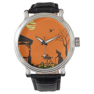 ハロウィンの大人、腕時計、シルエット、幽霊のよく出るな魔法使い 腕時計