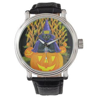 ハロウィンの大人、腕時計、黒、猫、マウス、とうもろこし畑 腕時計