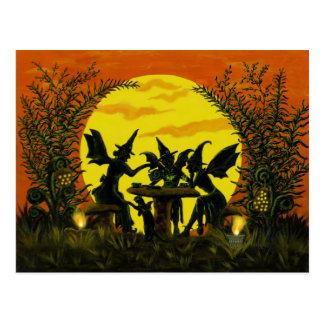 ハロウィンの妖精の魔法使いの郵便はがき ポストカード