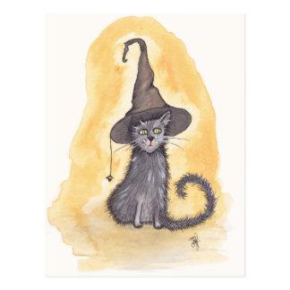 ハロウィンの子猫の魔法使い ポストカード