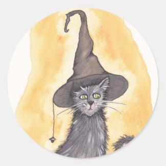 ハロウィンの子猫の魔法使い ラウンドシール