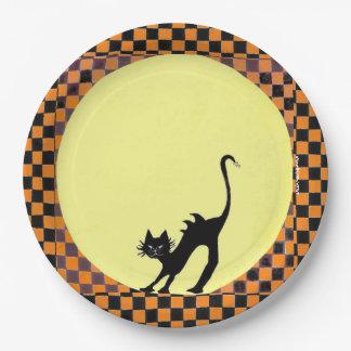 ハロウィンの完全な月に対する黒猫Silhoutte ペーパープレート