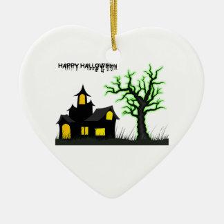 ハロウィンの家および緑の木 セラミックオーナメント